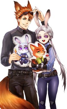 Time to human it up with the Nick and Judy humanized forms that Disney's Zootopia inspired. Those plushies/pillows were a nice touch too. Walt Disney, Disney Pop, Disney Couples, Disney Dream, Nick Wilde, Zootopia Cosplay, Zootopia Fanart, Zootopia Fanfiction, Disney And Dreamworks