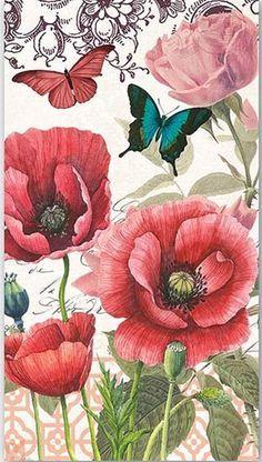 2 dos azafatas servilletas para Decoupage y manualidades de papel, flores, pájaros, mariposas, París