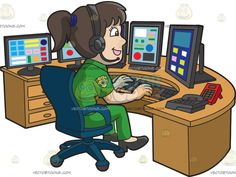A Friendly Female 911 Dispatcher :  A woman with dark brown ponytailed hair wearing a green dispatcher uniform with gold arm patch black headphones with microphone black heels smiles while sitting on a dark blue swivel chair behind a light brown table full of five black monitors red dial pad and black telephone