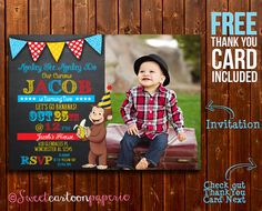 *Curious George birthday party photo invitation - customized with your photo and party information!*    By purchasing this listing you will