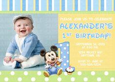 Baby Mickey Mouse 1st Birthday Digital Invitation $11