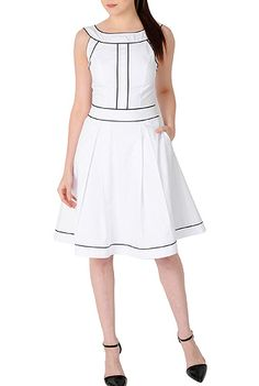 Piped trim cotton poplin dress