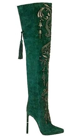 Emilio Pucci 2014 ... Green Knee High Boots ... and a tassle ... I love it!!!