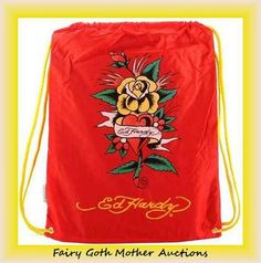 "Nwt\'s Licensed Ed Hardy ""Eternal Love"" Full Size Drawstring Backpack. Starting at $10"