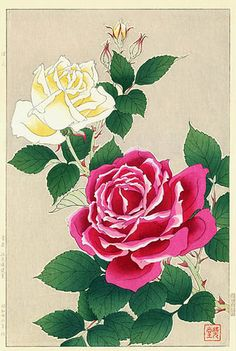 Roses, Pink and Yellow  by Kawarazaki Shodo  (published by Unsodo)
