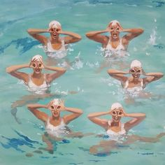 Female Swimmers, Fin Fun, Underwater Art, Synchronized Swimming, Swim Caps, Gcse Art, Cool Paintings, Beach Babe, Beach Themes
