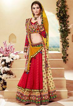 Ravishing Traditional Lehenga Choli with Embroidery and Mirror work.. Chaniya Cholis to Rock this Dandiya Season - LooksGud.in