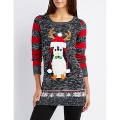 Charlotte Russe Penguin Marled Holiday Sweater ($20) ❤ liked on Polyvore featuring tops, sweaters, medium gray combo, grey knit sweater, long grey sweater, gray knit sweater, striped knit sweater and striped sweater