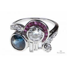 Estate Retro Platinum Sapphire, Diamond And Ruby  Ring -  Carreras Jewelers