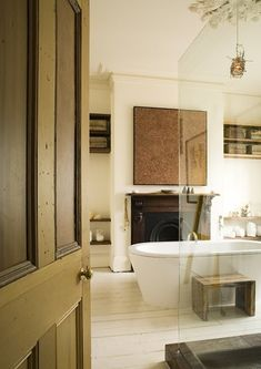 bathroom and fireplace