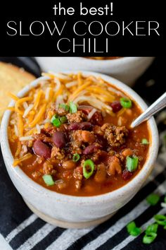 Slow Cooker Beef Chili is a classic chili recipe with one special ingredient that makes it THE BEST chili recipe I've ever made! This chili recipe can be made right away in the slow cooker, or it can be made into a freezer meal for an easy weeknight dinner any time! Classic Chili Recipe, Best Chili Recipe, Chili Recipes, Slow Cooker Chili, Crock Pot Slow Cooker, Easy Weeknight Dinners, Easy Meals, Fall Recipes, Dinner Recipes