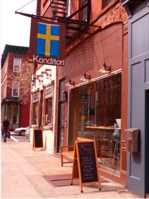 Konditori in Park Slope - excellent coffee, surprisingly awesome bagels, and the owner is super nice.