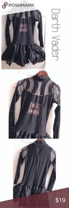 Darth Vader Star Wars Tutu Costume Skirt Dress S Perfect for the Star Wars fan.  Darth Vader body with bottom tutu.  Tulle underneath.  Minor piling on the back bottom near the skirt, pictured.  Also, some minor cracking in the print, also pictured. Long sleeve.  Zip up back. Size small. Star Wars Dresses