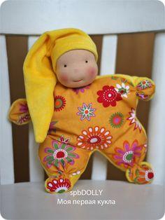 Купить Солнечная песенка - куколка-комфортер для самых маленьких - желтый, кукла, купить куклу, Пупсик