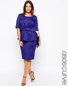 ASOS CURVE Exclusive Peplum Dress With Knot Detail-- HELLO Joan from Mad Men!!!! Especially in the Teal. LOVE IT!