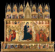 The Maestà Altarpiece [facade] Circa 1308-11 -- Duccio di Buoninsegna -- Italian -- Tempera & gold on panel -- Museo dell'Opera del Duomo, Siena, Italy.