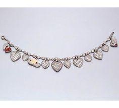 Duchess of Windsor diamond heart charm bracelet~
