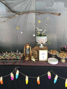 Fantastic dessert table at a glamping birthday party! See more party ideas at CatchMyParty.com!