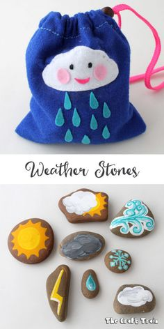 Weather stonee craft for creative play, learning and to use as story stones Make some weather stones in a simple felt drawstring bag to help kids learn about weather. This is a simple rock painting craft and makes a cute DIY toy too Montessori Activities, Learning Activities, Preschool Activities, Kids Learning, Learning Stories, Nature Activities, Montessori Toddler, Toddler Preschool, Toddler Fun