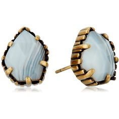 Kendra Scott Tessa Antique Brass White Banded Agate Earrings ($50) ❤ liked on Polyvore featuring jewelry, earrings, stud earrings, white stud earrings, agate earrings, antique brass jewelry and earring jewelry