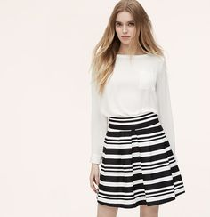 99ec7dfb010 Mixed stripes pop this irresistibly pleated style. Onseam pockets. Back  zip. Lined.