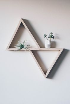Custom crafted double triangle shelf made from beautiful and strudy inch birch plywood. Diy Wood Wall, Diy Wall Decor, Diy Home Decor, Room Decor, Wooden Wall Shelves, Homemade Wall Decorations, Triangle Shelf, Wall Ornaments, Diy Home Crafts