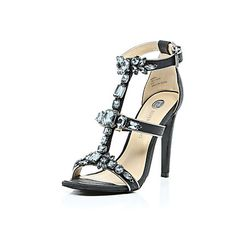Black gem embellished barely there heels £70.00 #riverisland