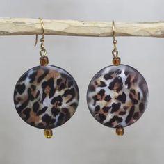 Leopard Style Recycled Glass Leopard Motif Earrings from Ghana Charity Gifts, Brass Hook, Leopard Fashion, Leopard Spots, Jewelry Packaging, Recycled Glass, Wind Chimes, Jewelry Gifts, Beaded Jewelry