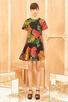 Sportmax | Pre-Fall 2015 | 24 Black/green/orange leaf-printed short sleeve mini dress