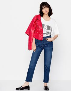 Faux leather biker jacket - Coats and jackets - Clothing - Woman - PULL&BEAR United Kingdom Pull & Bear, Simple Style, Bell Sleeve Top, Street Style, Woman Clothing, Clothes For Women, Elegant, Clothing Ideas, Coat