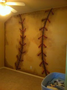 baseball wall for kids room ~ shoot! Kids Bedroom, Bedroom Decor, Bedroom Ideas, Baseball Wall, New Room, Game Room, Decoration, Playroom, Boys