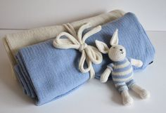 Merino Wool knitt blanket Set of 2  Natural by TheMoonKidsBoutique