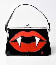Hell Bunny Black Patent Leather Kiss Me Deadly Handbag