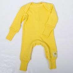 Immink baby romper - Ribbed baby romper with cuffs.  Primrose yellow. Sale price £16.80 + Free P&P