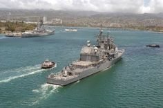 USS Vincennes (CG-49) entering Pearl Harbor in 2005. The ship is best known for the accidental shooting down of an Iranian civilian airliner in 1988.