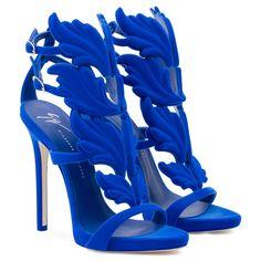 423f53efcaf133 Blue calfskin leather  Cruel  sandal with flocking patina heel inch) with  inch) internal platform Blue leather upper  Cruel  accessory Flocking  patina ...