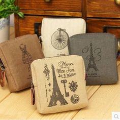 2016 New Arrival 8*9*3CM Men Women Retro coin purse Memory Of Paris Mini Wallets Coin Pocket Mini Storage Bag G809 //Price: $7.25 & FREE Shipping //     #hashtag3