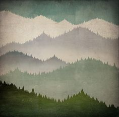 FIRST SNOW winter mountains graphic art  Media Wall Canvas -  24x24x1.5 -  inches SIGNED Read to Hang Wall Art. $210.00, via Etsy.