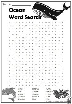 Ocean Word Search Kids Word Search, Word Search Puzzles, Word Puzzles, French Language Learning, Teaching Spanish, Spanish Language, Sign Language, Ocean Words, Free Printable Word Searches
