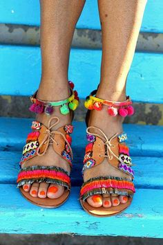 Handmade soft leather greek sandals decorated with handmade friendship macrames from Thailand, multi-colored pom poms and cotton daisies (sewn