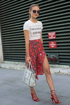 Floral Printed Midi Skirt And Nouveau Grunge Slogan Tee Via Beyond The Row