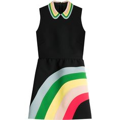RED Valentino Rainbow Dress ($795) ❤ liked on Polyvore featuring dresses, multicolor, evening dresses, black sheath dress, sheath cocktail dress, leather dress and holiday cocktail dresses
