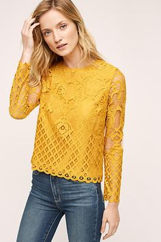 Patrie Mixed Lace Top - anthropologie.com