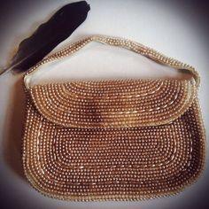 Vintage Hand Beaded Pearl Handbag-Vintage Wedding-Bride-Romantic 1920s 1930s Antique Bag