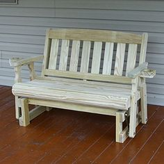 Amish Heavy Duty 800 Lb Mission Pressure Treated Porch Glider With  Cupholders Made From #1