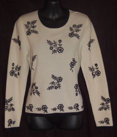 Neiman Marcus Cashmere Sweater M Embroidered Sweater Ivory Black