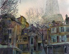 John T. Salminen (American, born 1945) watercolor 'Parisian Evening'