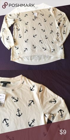 NWT Anchor sweatshirt NWT perfect condition. Comfy pullover sweatshirt. Cream color with dark navy/black anchors all over. Loose fitting so comfortable fits like a M.  💥BUNDLE to save 20%💥 Forever 21 Sweaters Crew & Scoop Necks