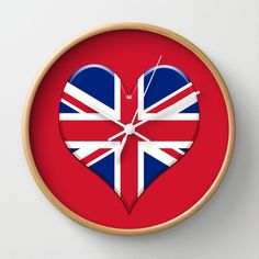 UK Union Jack flag set in a Love heart. Wall Clock by Bruce Stanfield - $30.00 Jack Flag, Heart Wall, Union Jack, Wall Clocks, Love Heart, Clock Wall