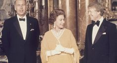 President Jimmy Carter and Queen Elizabeth II with French President Valery Giscard d'Estaing at Buckingham Palace London, England, May 1977. (AP Photo)